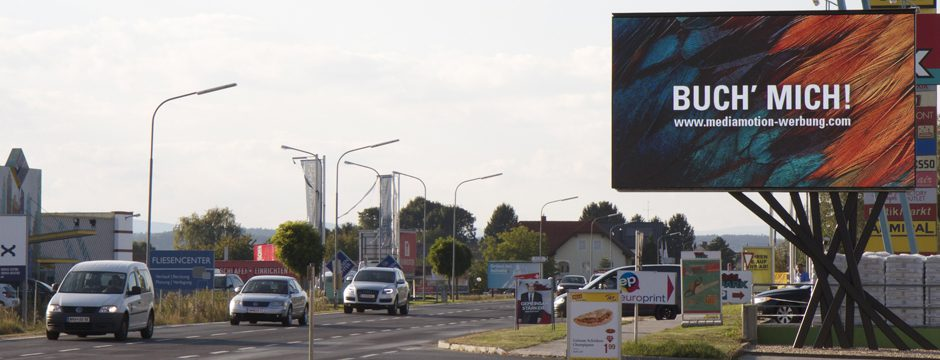 Videowall firstSpot P12, Werbewand in Oberwart, Burgenland. 12 mm Bildpunktabstand, 6700 x 3800 mm Größe, 560 x 320 Pixel