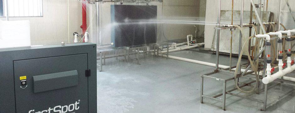 IP65 Tests an einer firstSpot P12 Werbewand für den Outdoor Einsatz firstSpot Österreich: LED Videowall Videowand Werbewand Werbetafel Screen Bildwand kaufen Wien Österreich