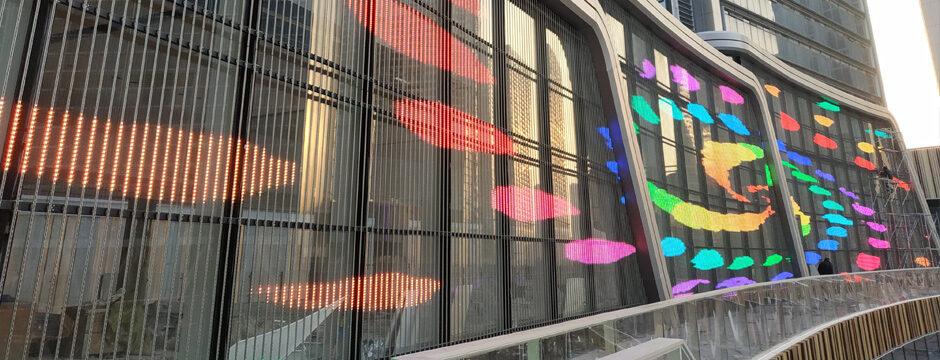 LED Mediamesh Screen Fassade Display Architektur Fassaden Mediafassade Mediafassenden kaufen bei firstSpot media GmbH, Wien, Österreich