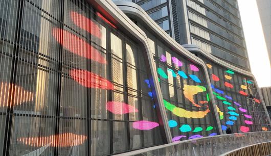LED Media Fassade, mediamesh, Mediafassade, transparent, Gebäudehülle