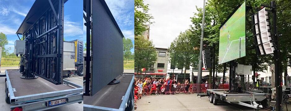 LED Videowall Videowand mobil Trailer Fußball Public Viewing mieten Wien Österreich